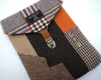 iPad air case, iPad 3 iPad 2 case vintage brown orange wools,   Eco Friendly  Recycled suit coat