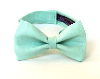 Boy's Bow Tie - Solid Mint Green - any size bowtie in classic mint green