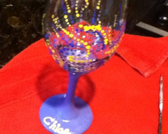 Handpainted abstract party wine glass
