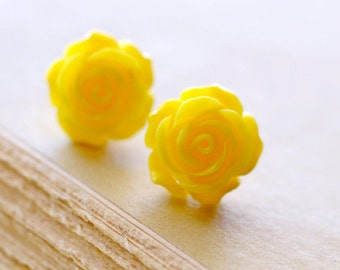 Large Yellow Rose Earrings, Bright Vibrant Colored Botanical inspired Flower Jewelry, Retro Jewelry, The Rosie Large 14mm