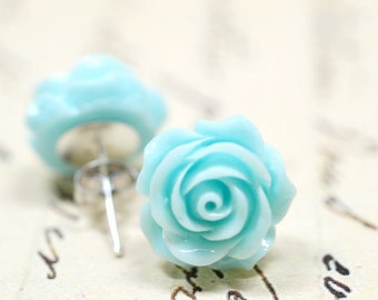 Mint Earrings, Mint Blue Rose Earrings, Retro Jewelry, Pale Aqua Earrings Cottage Chic Vintage Style Jewelry, Turquoise  - The Rosie