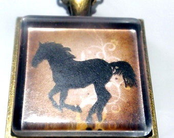Horse Necklace, Cowgirl bronze western pendant on matching bronze chain cowgirl up southwestern