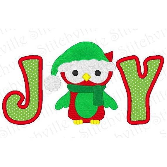 Joy christmas applique embroidery design a modern and