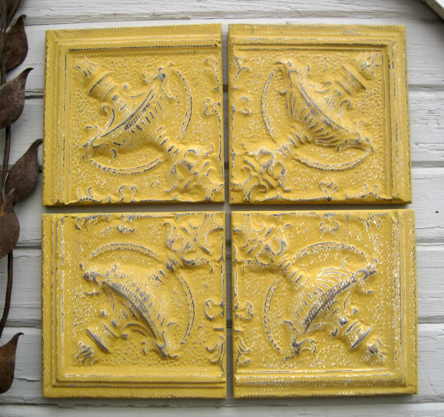 Tin ceiling tile set of four antique tins circa 1895 framed for Individual ceiling tiles for sale