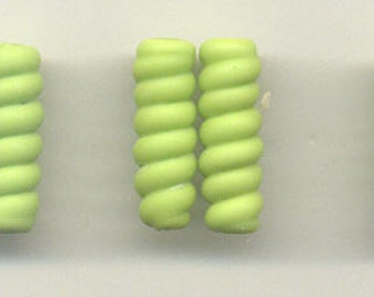Tom's lampwork satin (etched) frosted pea green (gaspeite) ribbed cylinder beads,  drops, spacers 20mm, 2 beads, 1 pair, 99046A