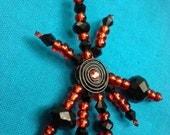 Beaded Targaryen Red And Black Necklace On Black Velvet