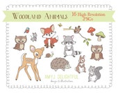 Woodland Creatures CLIP ART SET for personal and commercial use -fawn, fox, racoon, hedgehog, bunny, owls, squirrel and more