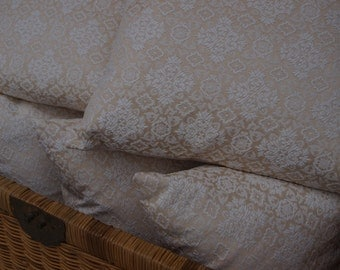 Ivory Damask Pillow Cover