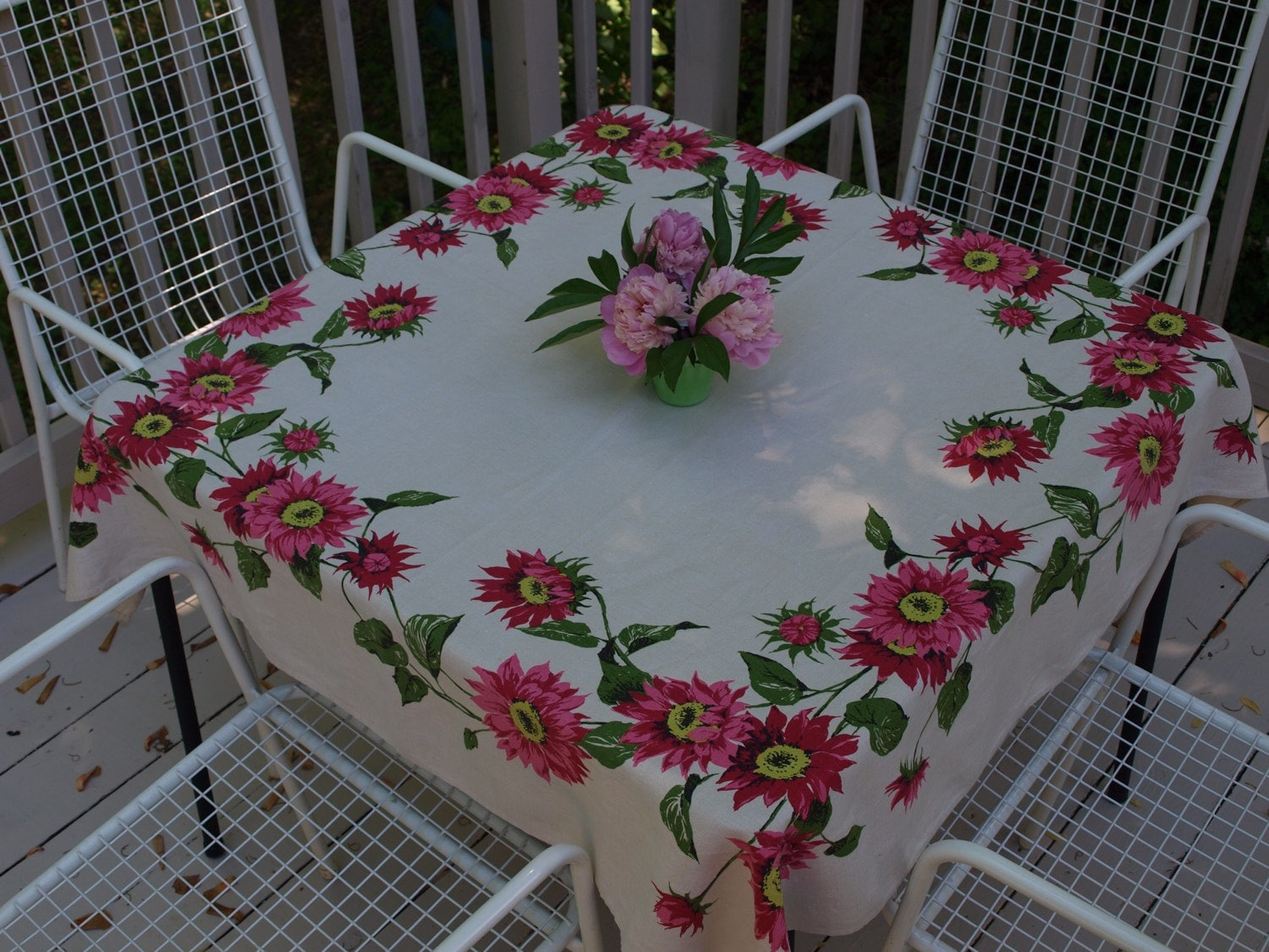 Vintage Pink And Green Floral Tablecloth