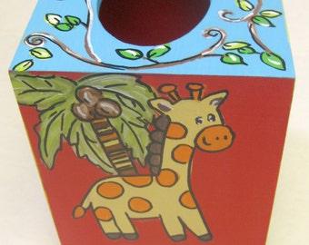 hand painted tissue box, jungle decor,bright colors,jungle animals decor,jungle animals tissue box,nursery decor,giraffe,safari animal decor
