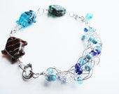 Large Handmade Wire Crochet and Lampwork Fish Ocean Bracelet By Distinctly Daisy