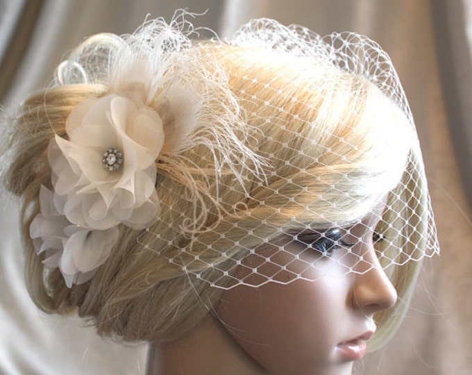 Featured listing image: Ivory Silk organza flowers hair clip and birdcage veil ( 2 items) wedding reception bridal party