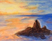 """Landscape Beach Sunrise Painting SFA Small Fine Art 5"""" x 7"""" Contemporary Modern Art Daily Painters a Painting a Day Art"""