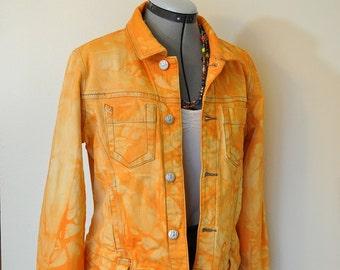 Orange Medium Denim Jacket - Yellow Orange Hand Dyed Upcycled Cabi Jeans Denim Cropped Trucker Jacket - Adult Womens Size Medium (38 chest)