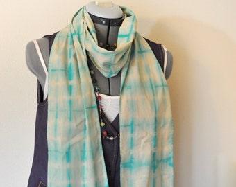 "Aqua Blue Dyed Cotton SCARF - Teal Blue Tan Hand Dyed Tie Dye Hand Made Shibori Cotton Skinny Scarf #88 - 6.5"" x 74"""