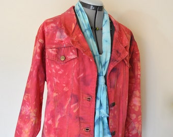 Red Small Denim Jacket - Cherry Red Hand Dyed Denim Upcycled Sunset Blues Denim Trucker Jacket - Adult Women Size Small (38 chest)
