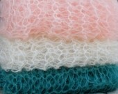 Lacy Mohair Newborn Wrap, Hand Knit Basket Liner