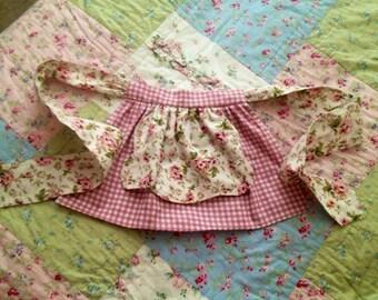 Pink Gingham Pink Rose Children's Tea Apron Girls Large Bow