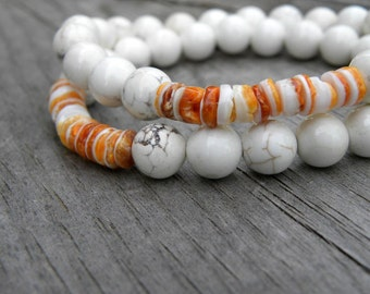 Orange Spiny Oyster Shell White Turquoise Beaded Bracelet Set of Two Stretch Elastic Stacking Beach Summer Asymmetrical
