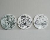 Trio of Bjorn Wiinblad Ceramic Birthday Month Trivets