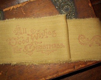 Hand Stamped Vintage Appeal Tattered Ribbon   All good wishes for Christmas