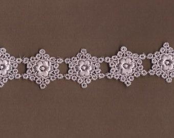 Hand dyed Venise Lace Sweet Floral Snowflakes  Vintage Lavender