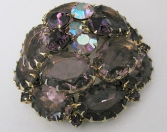 Large Layered Domed Gorgeous Shades of Purple & AB Rhinestones Brooch Free Ship
