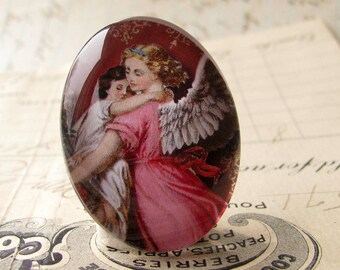 "Handmade ""In the Arms of an Angel"" 40x30 mm glass oval cabochon, 40x30mm 30x40mm, rose pink, protection, religious icon, child"