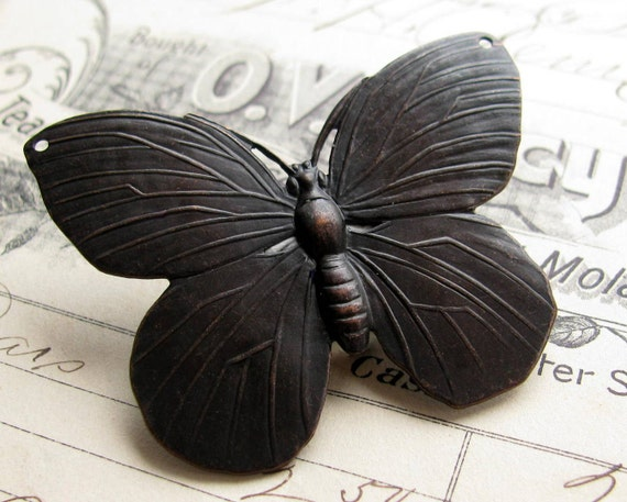 52mm large black butterfly pendant link, antiqued brass, drilled holes, aged patina, lead nickel free, made in the USA