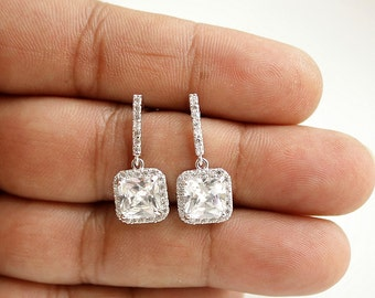 Wedding Earrings Square Bridal Earrings Small Square Drop Earrings Clear Cubic Zirconia Silver Studs Wedding Jewelry Bridal Jewelry