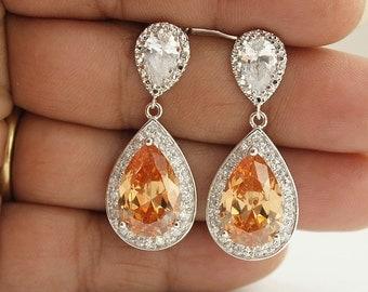 Champagne Crystal Bridal Earrings Wedding Jewelry Large Cubic Zirconia Bridesmaid Teardrop Earrings Champagne Wedding Earrings, Cali