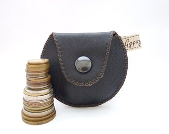 Men's Coin Pouch Black Leather and Classic Wool Mini Gypsy Guys Coin Purse for Men