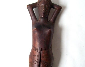 vintage naked lady nutcracker woman nut cracker nude decorative home decor mid century modern retro african tribal ethnic brown carved