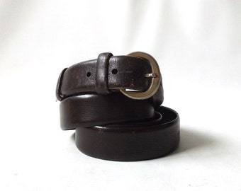 vintage 1970's brown leather dress belt mens womens size 40 mid century modern retro fashion accessories accessory skinny dark italy italian