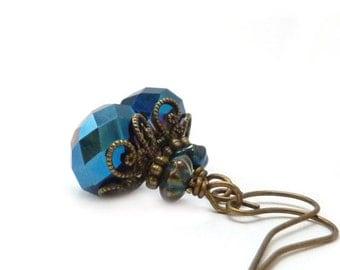 Dark Blue Glass Earrings - Metallic Indigo Blue Earrings - Boho Earrings - Bronze Vintage Style Petite Earrings
