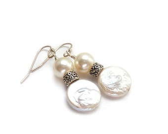 White Coin Pearl Earrings - Creme Swarovski Pearl Drop Earrings - Wedding Earrings - Bridal Party