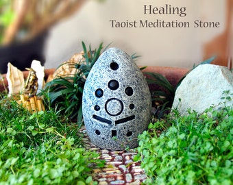 Healing - Handcrafted Taoist Meditation Altar Stone - Handpainted Clay Altar Piece - Planter and Terrarium Decor - Zen Garden