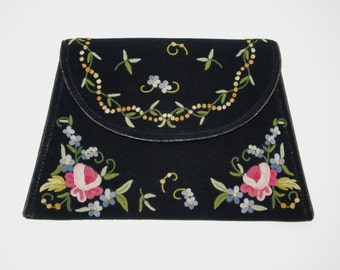 1930s hand embroidered vintage clutch purse