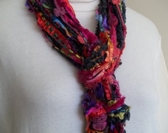 String Scarf,  Kaleidoscope, Black, Pink, Orange, Green Yarn Knotted String Scarf,   Womens Accessory