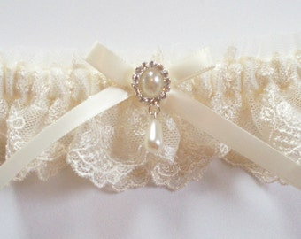 Lace Garter, Wedding Garter with Ivory Bow Topped by Pearl and Crystal Detail, INCLUDES satin band toss garter - The Petite MEREDITH Garter