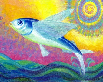 Flying Fish Art Print 10 x 14 - Limited Edition - Tropical Fish - Beach Decor - Original Acrylic Painting - Folk Ar