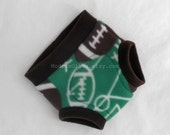 Large Football Fleece Cloth Pullup/Training Pant/Trainer/Underpant/Cloth Diaper Nappy Cover Soaker, Green Brown Toddler, Ready to Ship