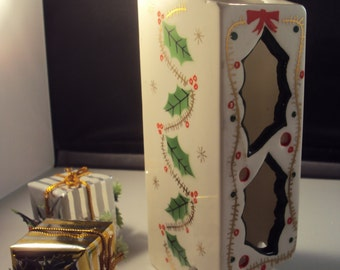 Vintage Ceramic Japan Holiday Holly Decorated Christmas Match Safe Match Book Holder