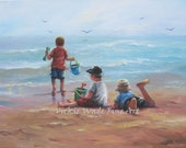 Three Beach Boys Art Print, beach paintings, boys, beach, three brothers, beach children, sea surf sand, Vickie Wade art