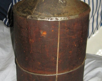 Antique  Cities  Service Oil or Kerosene Can  industrial   Antique Wood wrapped   City Service Oil or Kerosene Can