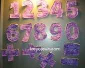 0-9 Numbers Plush Magnet Set-Math Symbols-Learning-Fabric-Purple Fabric Ready to ship
