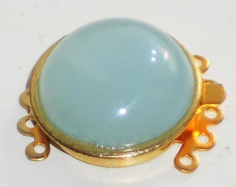 N1096B Vintage Clasp Glass Five Strand Bracelet Necklace 5 Gold Aqua Marine NOS