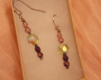 Beautiful Peridot and Amethyst colored Vintage bead earrings