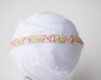 pink green NEWBORN beaded sequin halo heaband photo prop rEaDy To ShIP