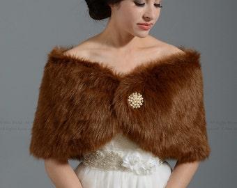 Brown faux fur wrap bridal wrap faux fur shrug faux fur stole shawl cape FW005-Brown regular / plus size